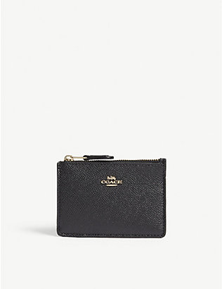 COACH: Skinny mini textured leather card purse