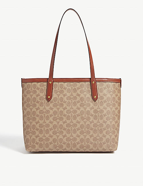 COACH Monogram coated canvas tote