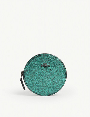 COACH Sequin leather coin case