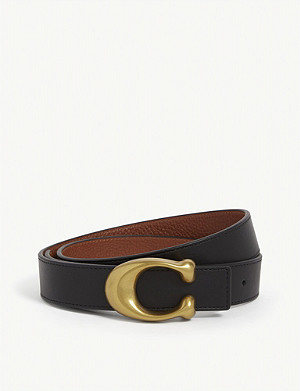 COACH Logo-buckle leather belt