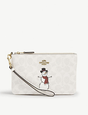 COACH Canvas snowman wristlet