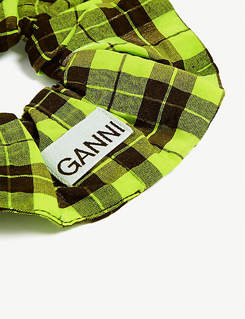 GANNI Check-printed woven scrunchie