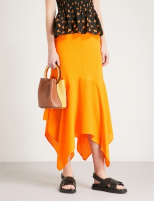75112477 GANNI - Wilkie striped silk and cotton-blend seersucker skirt |  Selfridges.com