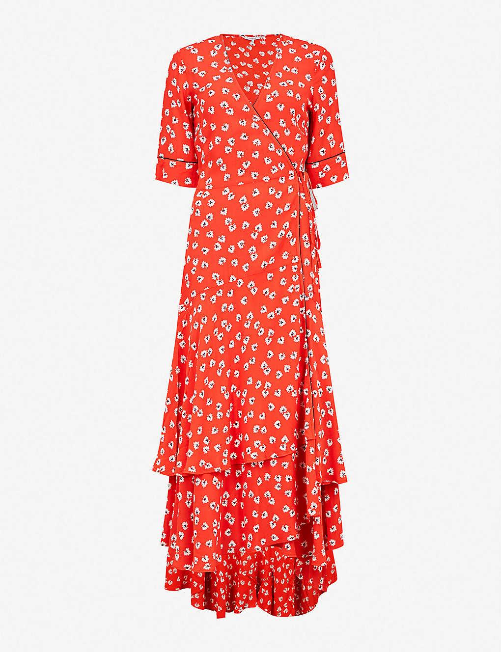 c8917754ee12 GANNI - Silvery crepe wrap dress | Selfridges.com