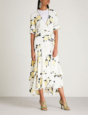 15d0bdbd GANNI - Striped silk-crepe de chine wrap dress | Selfridges.com