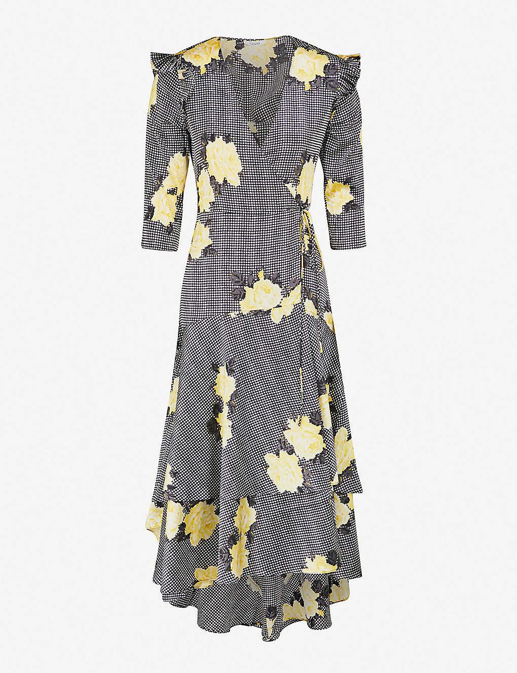 bef98433443 GANNI - Calla leopard-print stretch-silk wrap dress | Selfridges.com
