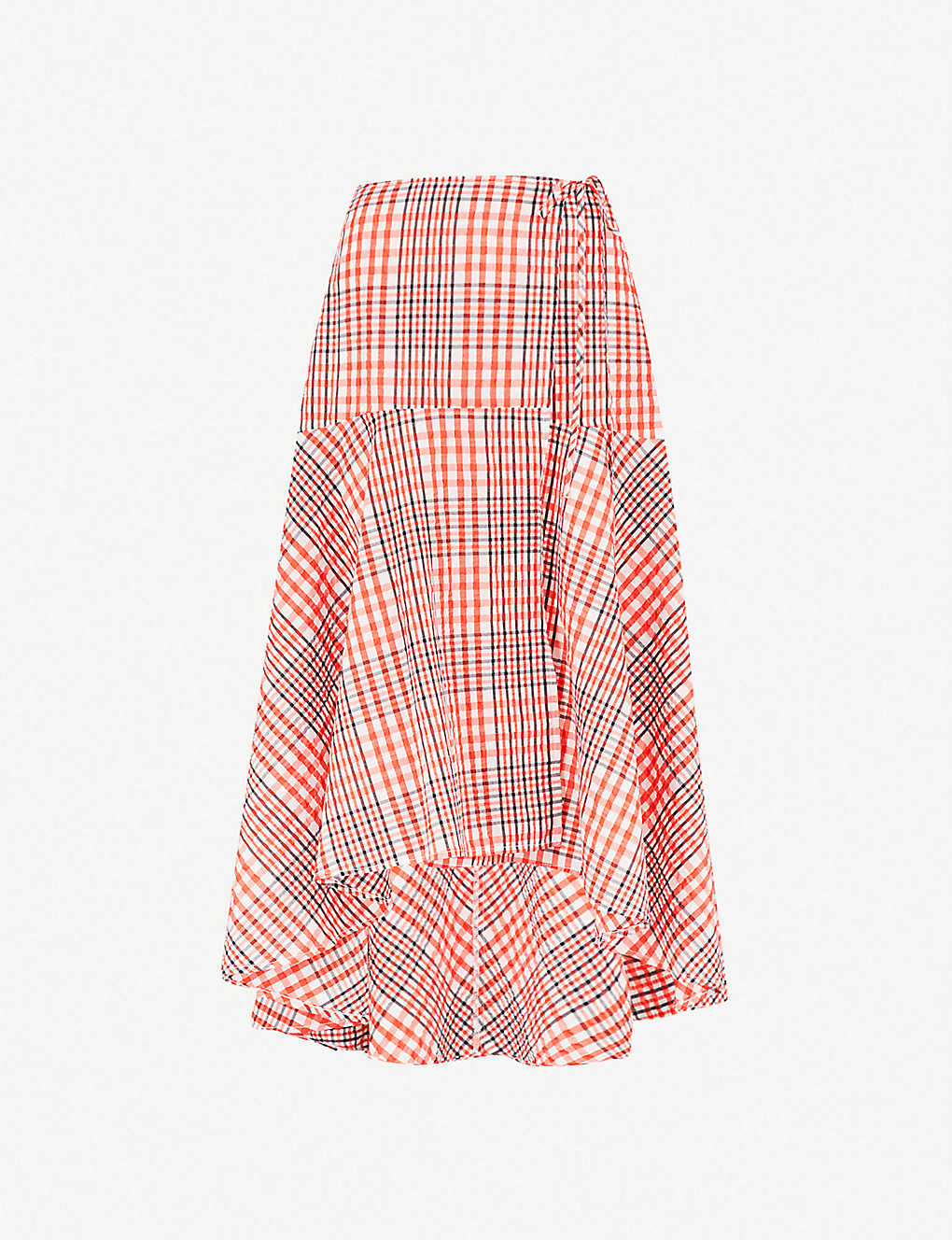 cddaac124e GANNI - Charron seersucker midi wrap skirt | Selfridges.com
