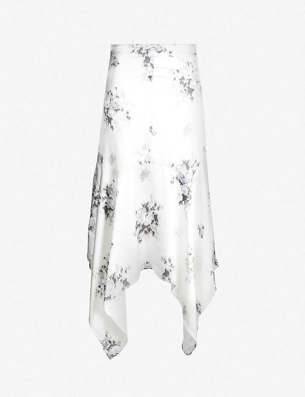 294c7b94 GANNI - Cameron handkerchief-hem floral-print satin skirt   Selfridges.com