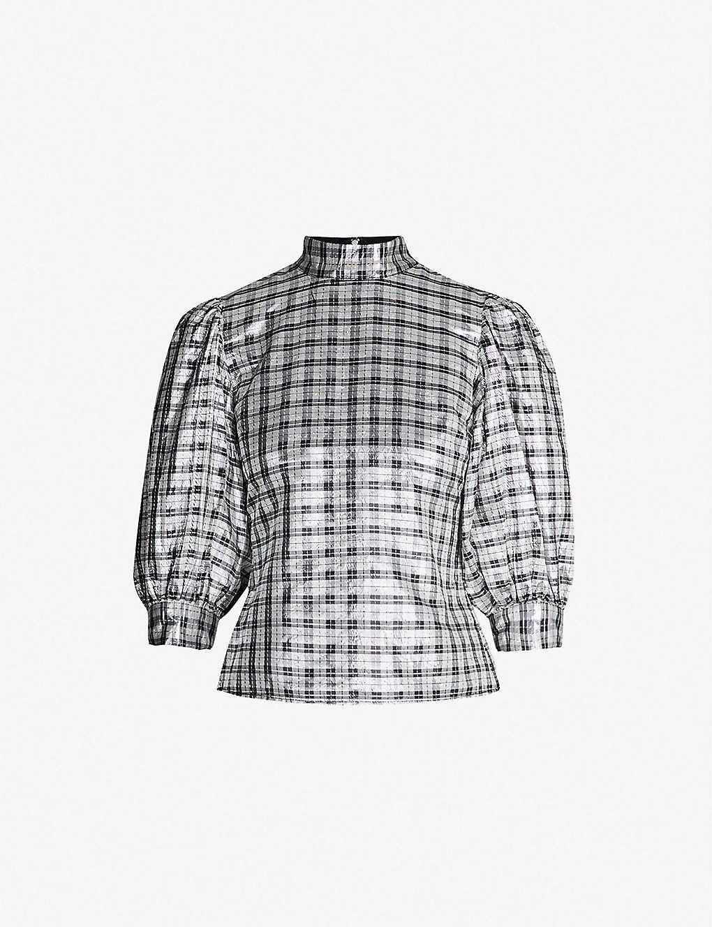 ab0fdf94 GANNI - Lagarde silk-blend top   Selfridges.com