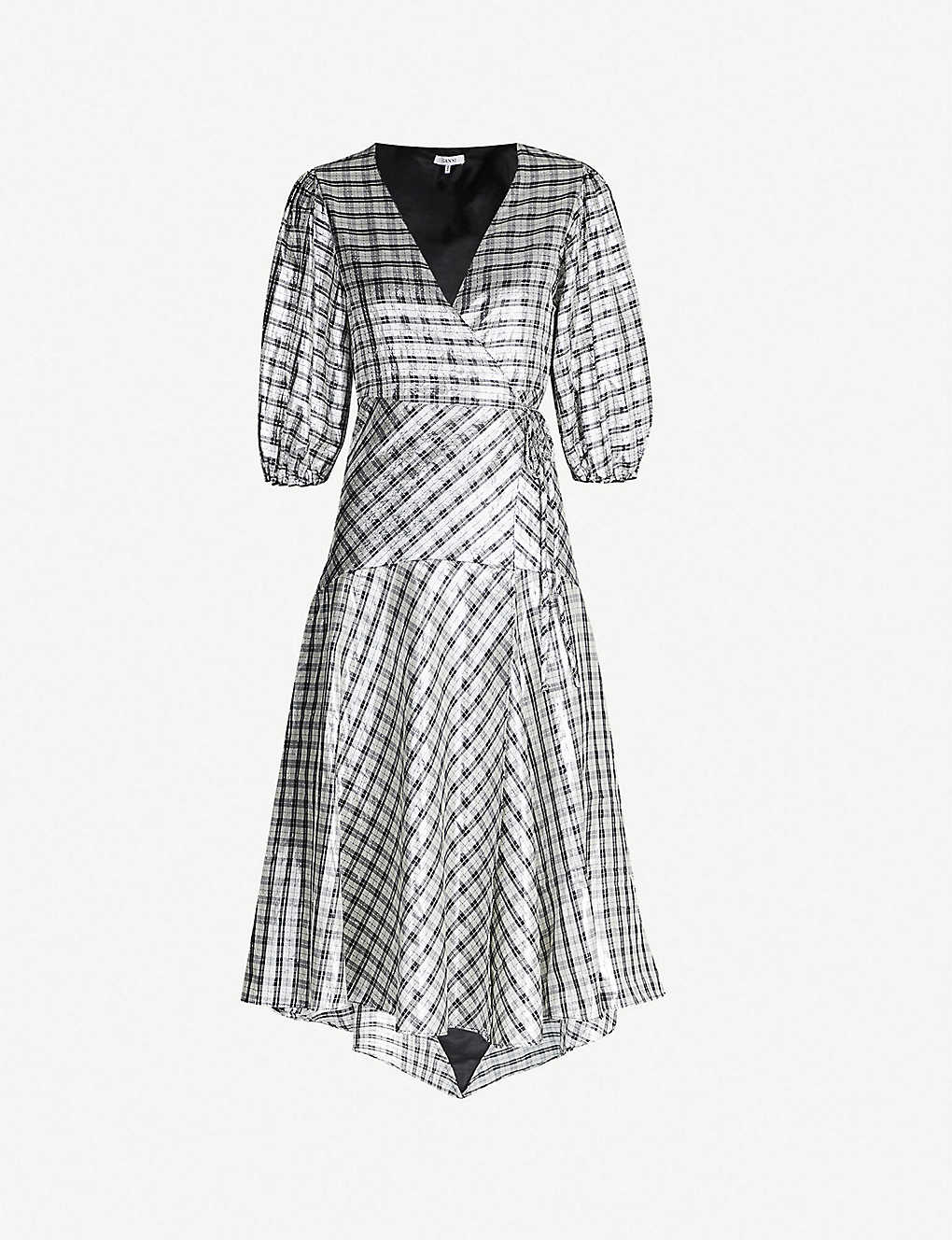 efe7796c GANNI - Lagarde metallic silk-blend dress | Selfridges.com