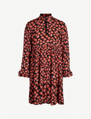 GANNI Lindale floral-print crepe mini dress