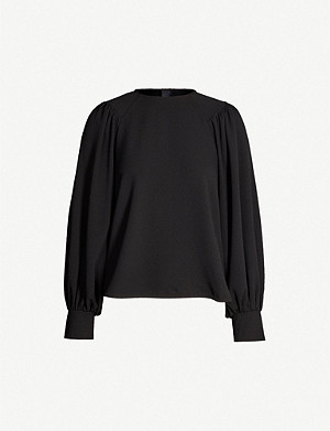 GANNI Clark blouson-sleeved crepe top