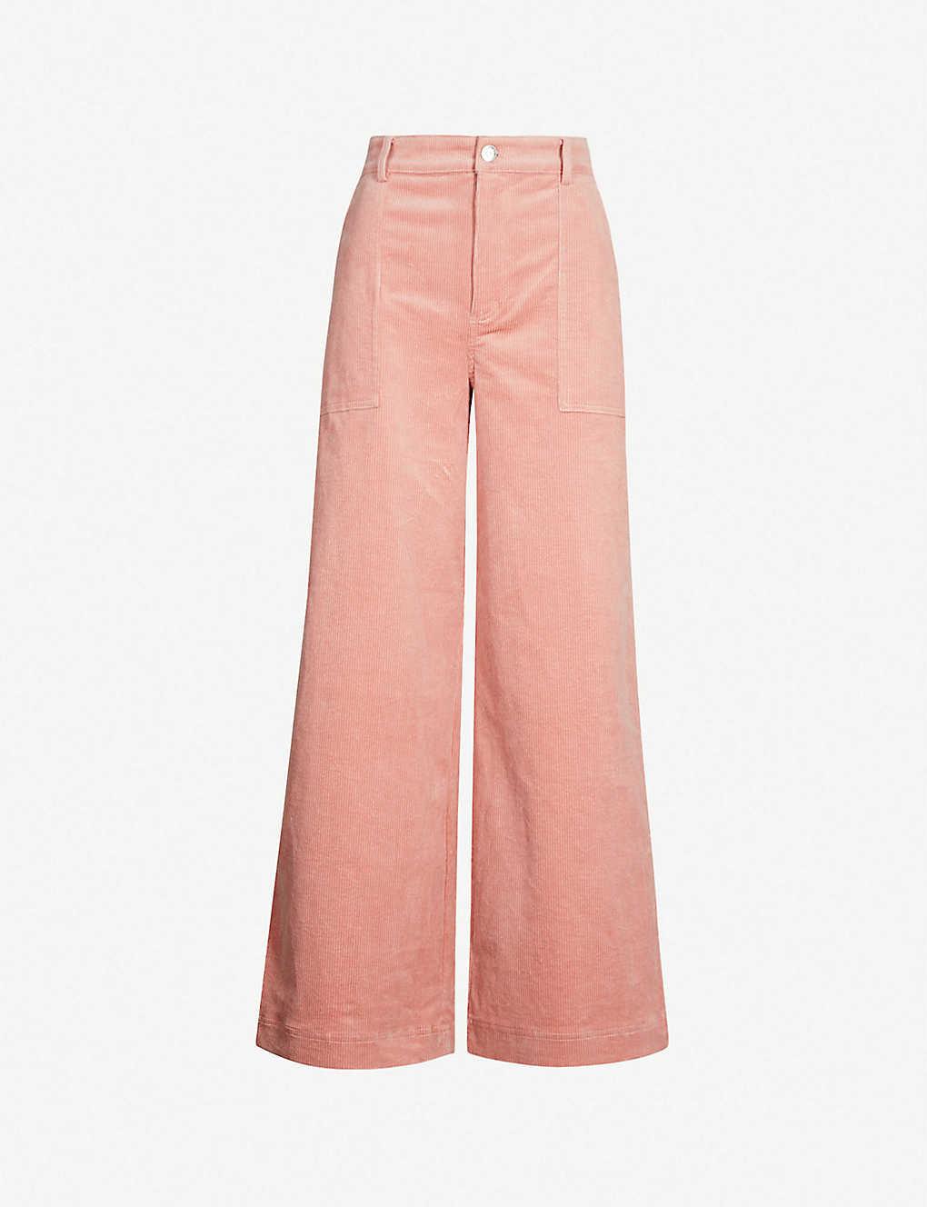 70fba74b06d18b GANNI - Ridgewood wide-leg high-rise corduroy trousers | Selfridges.com