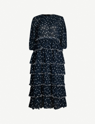 GANNI Lowell ruffled polka-dot chiffon dress