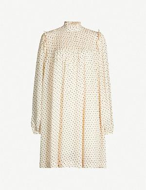Ganni Balloon Sleeve Broderie Anglaise Cotton Mini Dress