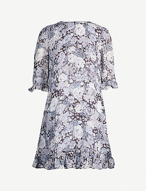 686589654b GANNI Ruffled floral-print chiffon mini dress