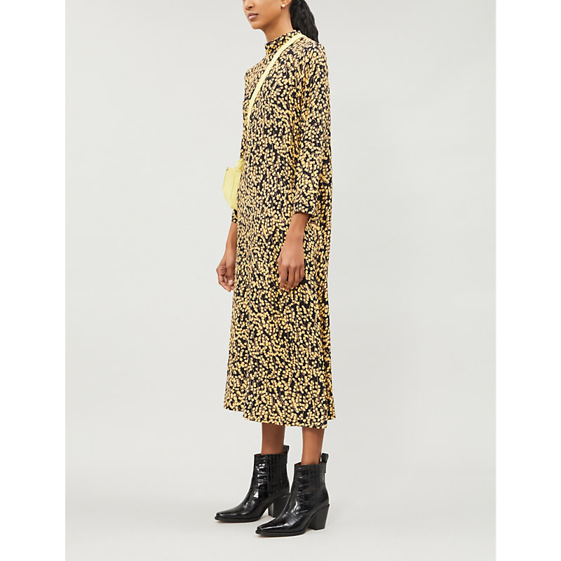 Ganni Dresses LADIES BLACK GOLDSTONE FLORAL-PRINT CREPE DRESS