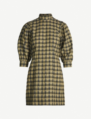GANNI Charron checked cotton-blend dress