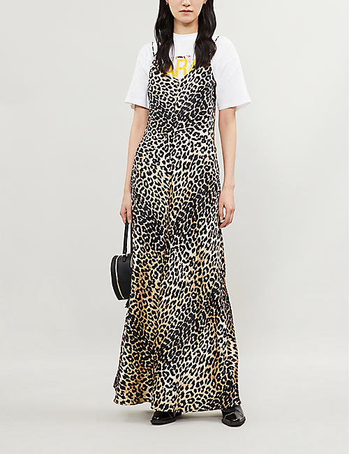 ed8d9cff8e1 GANNI Blakely leopard-print stretch-silk slip dress