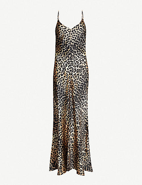 GANNI Blakely leopard-print stretch-silk slip dress 43eea1cea158