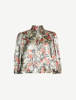 GANNI Cameron floral-print cropped satin top