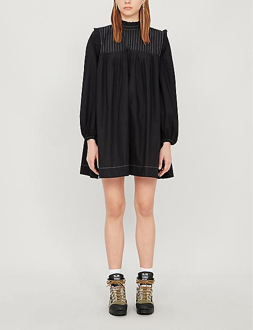 GANNI Contrast-stitch ruffled-trim cotton-poplin mini dress