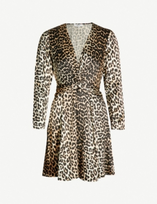 GANNI Leo leopard-print satin dress