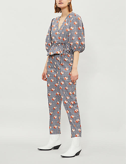 GANNI Bijou cropped cotton-poplin trousers