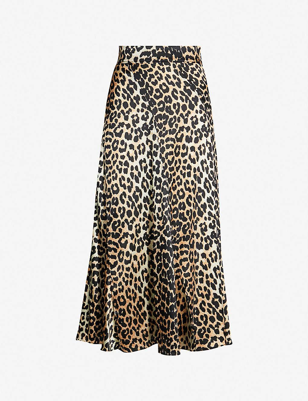 32b359c1e3afb6 GANNI - Blakely leopard-print flared stretch-silk skirt | Selfridges.com