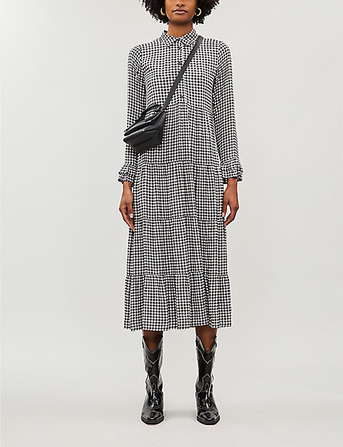 GANNI Printed long-sleeved crepe dress