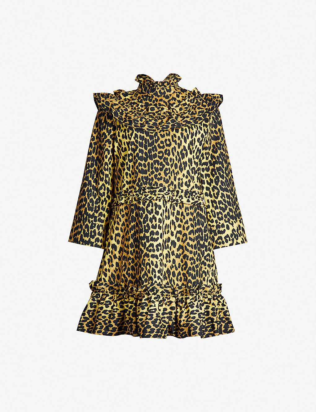bd17addc4f54 GANNI - Bijou leopard-print cotton dress   Selfridges.com