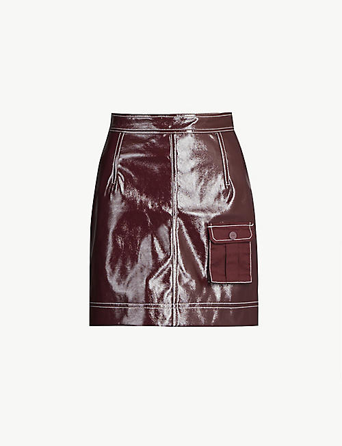 17b91e7bc GANNI High-waist faux-patent mini skirt