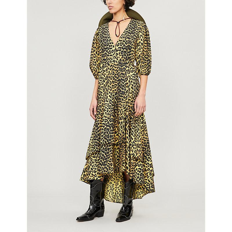 Ganni Dresses BIJOU LEOPARD-PRINT COTTON DRESS