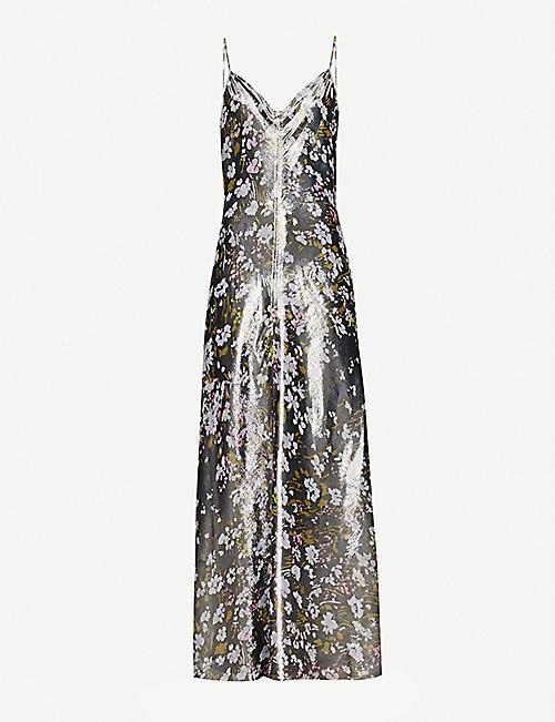 751c4f93ca439 GANNI Floral-pattern silk-blend metallic slip dress