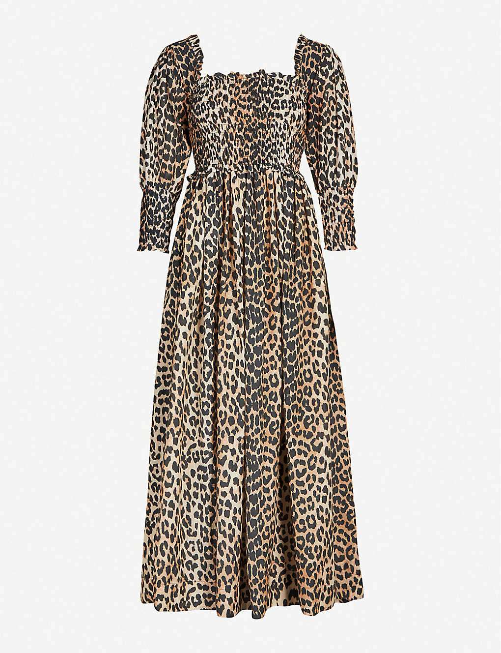 9b432b7b Puffed-sleeve leopard-print cotton and silk-blend maxi dress - Leopard ...