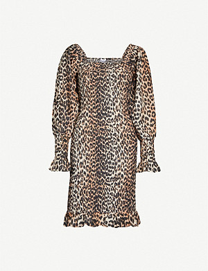 GANNI Puffed-sleeve leopard-print cotton and silk-blend mini dress