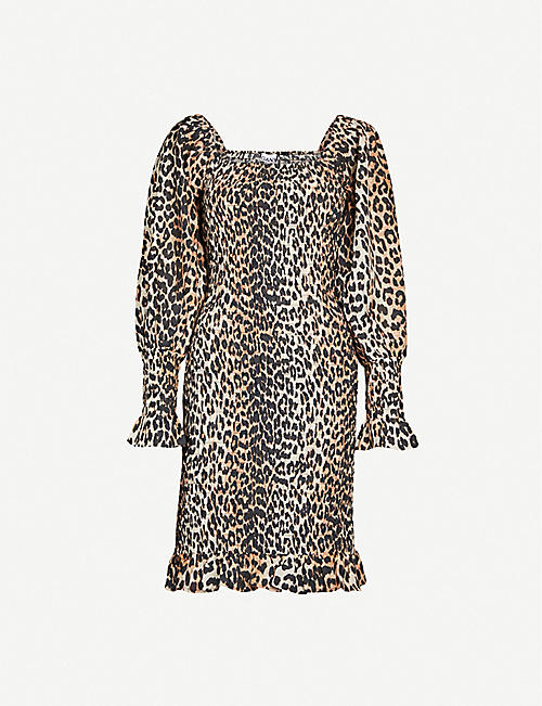 7bda2fad72e2 GANNI Puffed-sleeve leopard-print cotton and silk-blend mini dress