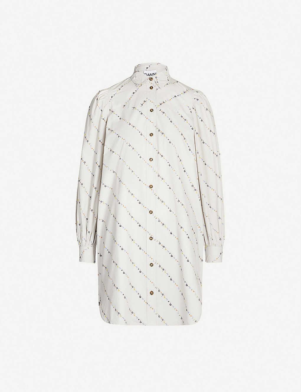 323f4139558349 GANNI - Floral-print cotton-poplin mini shirt dress | Selfridges.com