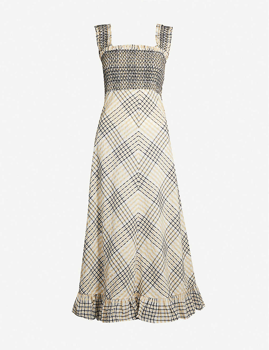 Ganni Checked Shirred Bodice Seersucker Midi Dress Selfridges Com