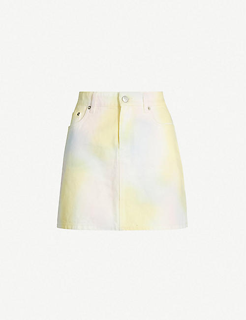 GANNI Shiloh tie-dyed denim mini skirt