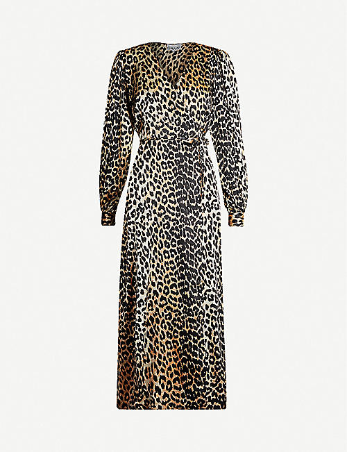 ec0f1697 GANNI V-neck bishop-sleeve animal-print stretch-silk midi dress