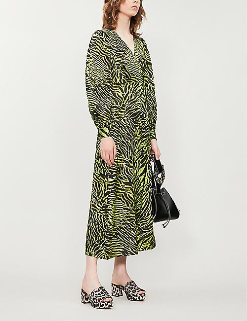11408fb9594 GANNI V-neck bishop-sleeve animal-print stretch-silk midi dress
