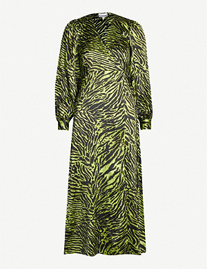 GANNI V-neck bishop-sleeve animal-print stretch-silk midi dress