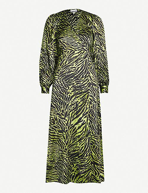 bb0efe01b7 GANNI V-neck bishop-sleeve animal-print stretch-silk midi dress