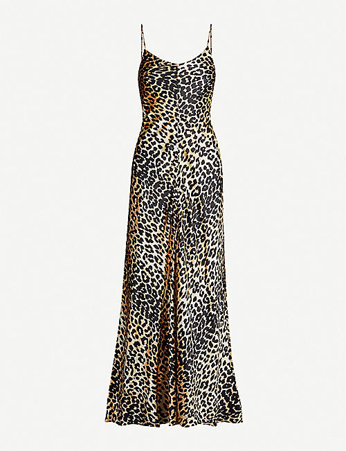 GANNI Animal-print stretch-silk slip dress