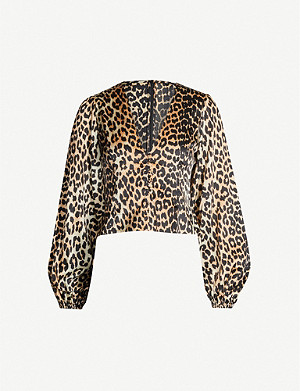 GANNI V-neck bishop-sleeve tiger-print stretch-silk top