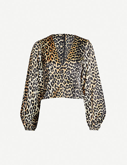 75f0ef0c9b GANNI V-neck bishop-sleeve tiger-print stretch-silk top
