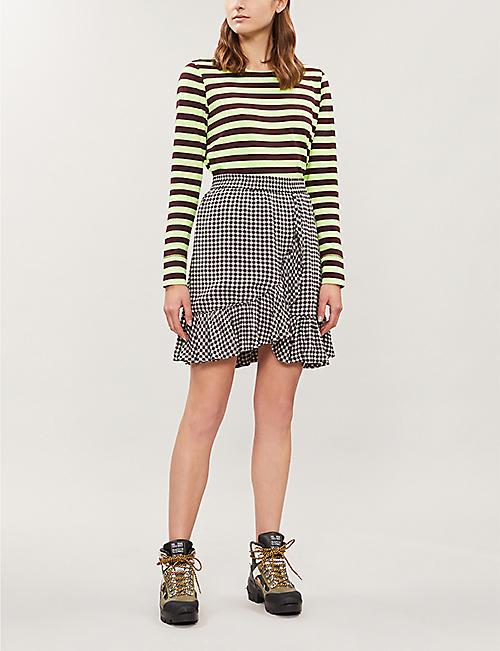 e9e33af1 GANNI Gingham high-rise woven skirt