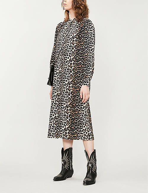 GANNI Leopard-print denim dress