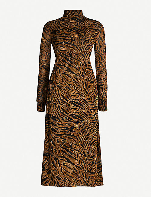 GANNI Tiger-print high-neck crepe shift midi dress